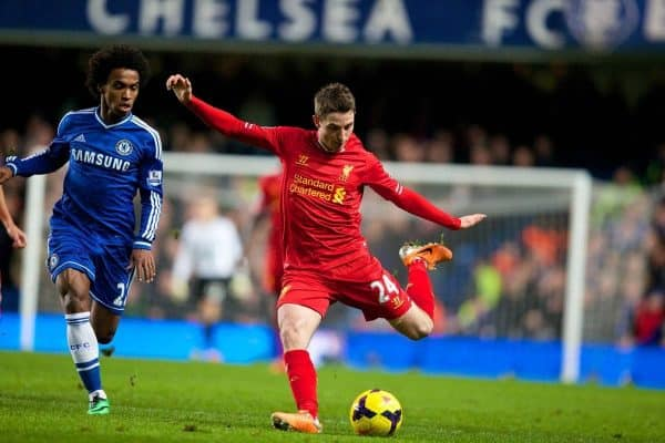 LONDON, ENGLAND - Sunday, December 29, 2013: Liverpool's Joe Allen in action against Chelsea during the Premiership match at Stamford Bridge. (Pic by David Rawcliffe/Propaganda)