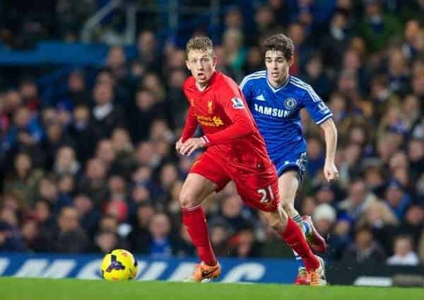 LONDON, ENGLAND - Sunday, December 29, 2013: Liverpool's Lucas Leiva in action against Chelsea during the Premiership match at Stamford Bridge. (Pic by David Rawcliffe/Propaganda)