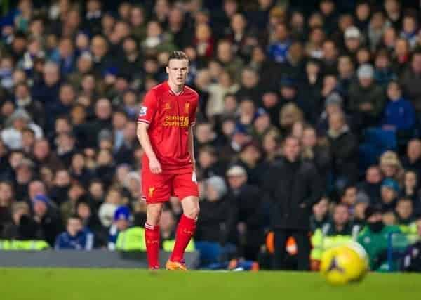 LONDON, ENGLAND - Sunday, December 29, 2013: Liverpool's Brad Smith in action against Chelsea during the Premiership match at Stamford Bridge. (Pic by David Rawcliffe/Propaganda)