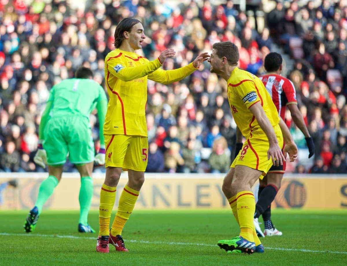SUNDERLAND, ENGLAND - Saturday, January 10, 2015: Liverpool's Lazar Markovic celebrates scoring the only goal of the game against Sunderland with team-mate captain Steven Gerrard during the Premier League match at the Stadium of Light. (Pic by David Rawcliffe/Propaganda)