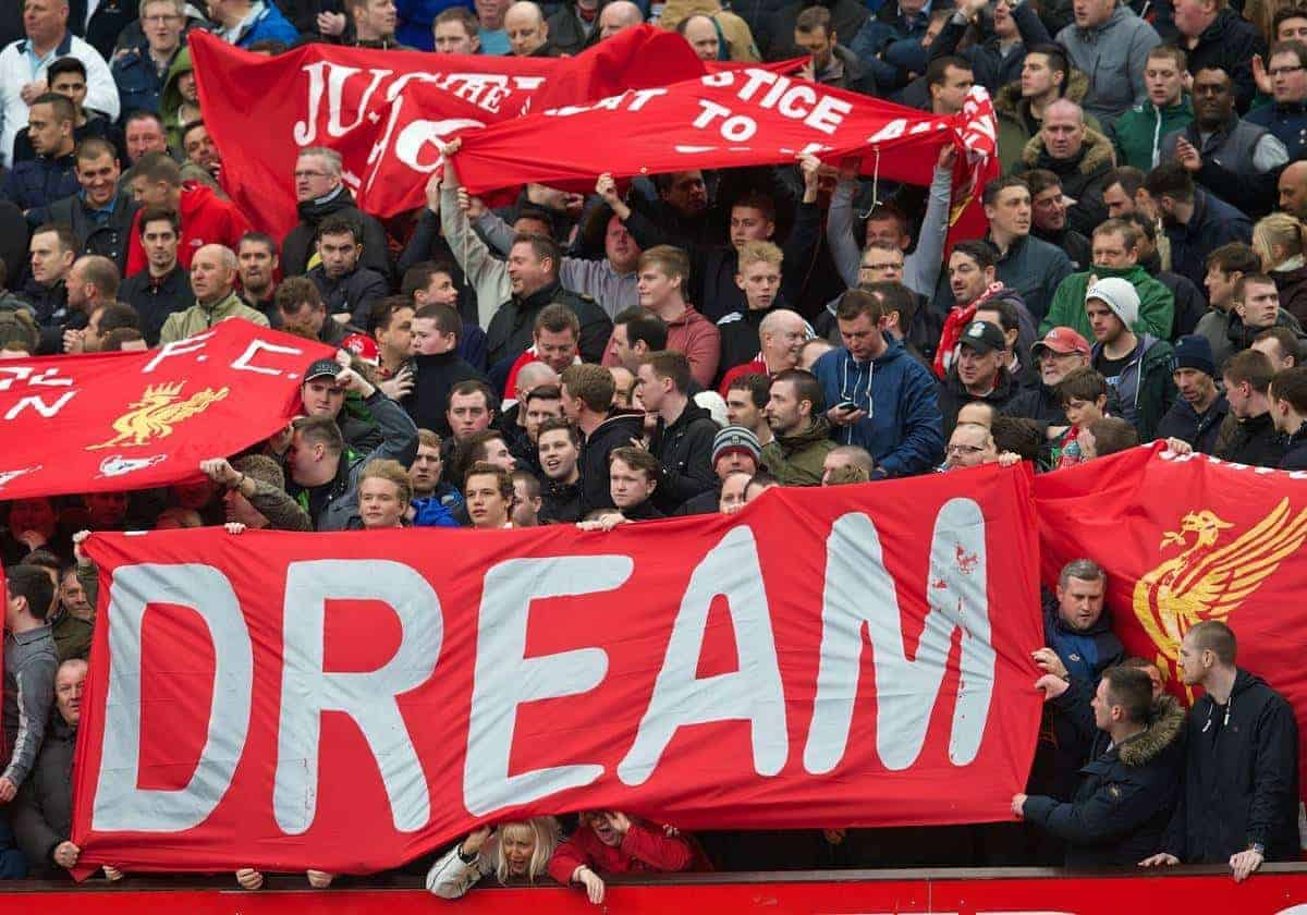 MANCHESTER, ENGLAND - Sunday, March 16, 2014: Liverpool supporters' banner 'Dream' before the Premiership match against Manchester United at Old Trafford. (Pic by David Rawcliffe/Propaganda)