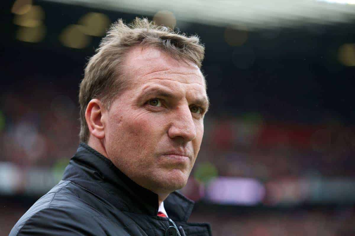 MANCHESTER, ENGLAND - Sunday, March 16, 2014: Liverpool's manager Brendan Rodgers before the Premiership match against Manchester United at Old Trafford. (Pic by David Rawcliffe/Propaganda)