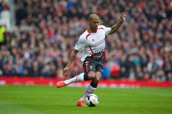 MANCHESTER, ENGLAND - Sunday, March 16, 2014: Liverpool's Glen Johnson in action against Manchester United during the Premiership match at Old Trafford. (Pic by David Rawcliffe/Propaganda)