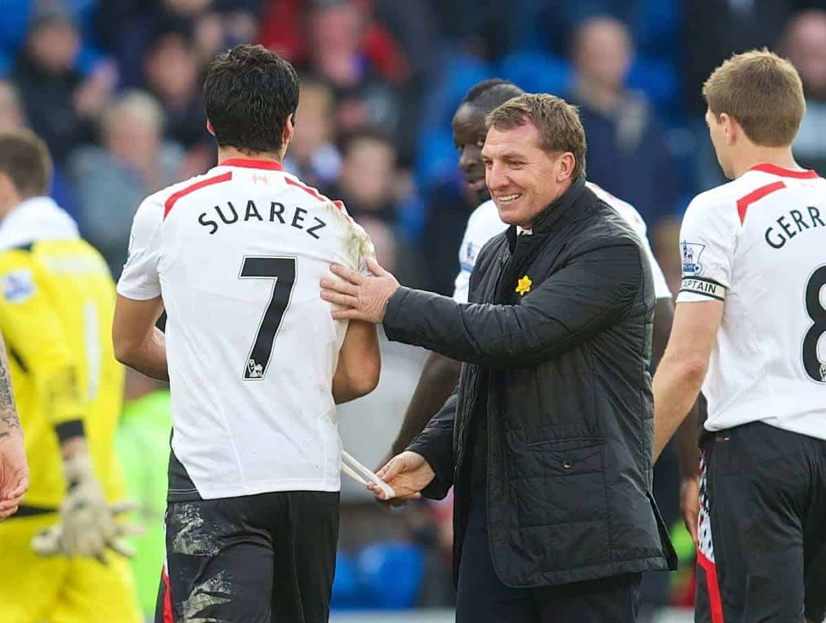 CARDIFF, WALES - Saturday, March 22, 2014: Liverpool's manager Brendan Rodgers with hat-trick hero Luis Suarez after the 6-3 victory over Cardiff City during the Premiership match at the Cardiff City Stadium. (Pic by David Rawcliffe/Propaganda)