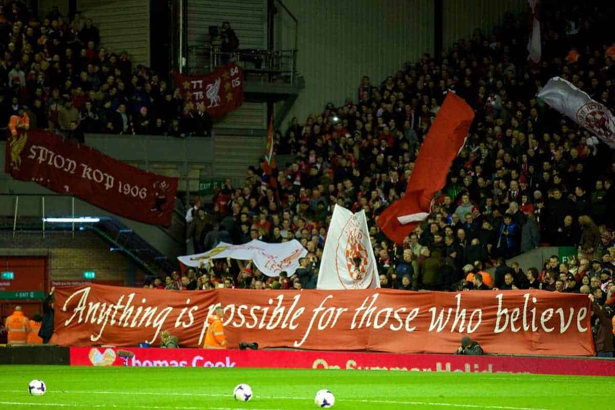LIVERPOOL, ENGLAND - Wednesday, March 26, 2014: Liverpool supporters banner 'Anything is possible for those who believe' during the Premiership match against Sunderland at Anfield. (Pic by David Rawcliffe/Propaganda)