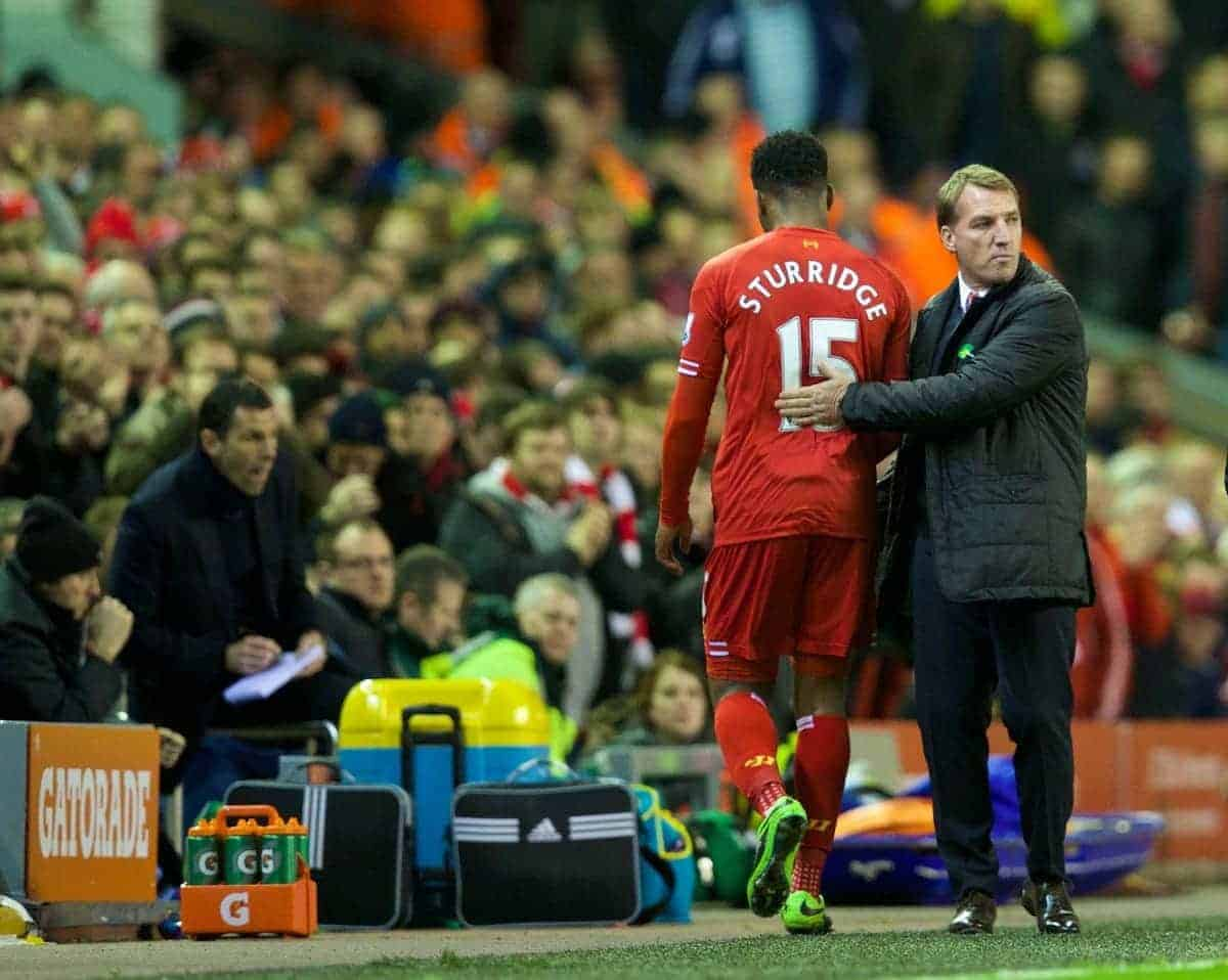 LIVERPOOL, ENGLAND - Wednesday, March 26, 2014: Liverpool's Daniel Sturridge and manager Brendan Rodgers as he is substituted against Sunderland during the Premiership match at Anfield. (Pic by David Rawcliffe/Propaganda)