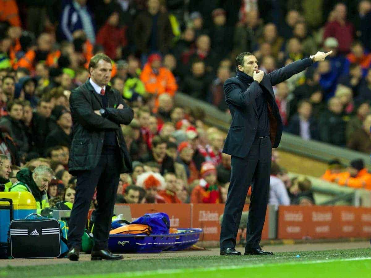 LIVERPOOL, ENGLAND - Wednesday, March 26, 2014: Sunderland's manager Gus Poyet during the Premiership match against Liverpool at Anfield. (Pic by David Rawcliffe/Propaganda)