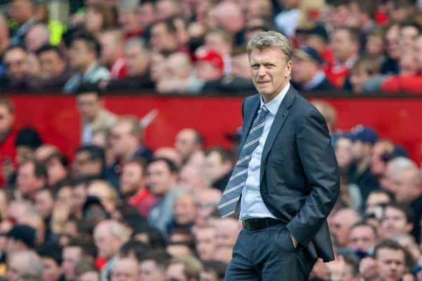 MANCHESTER, ENGLAND - Saturday, March 29, 2014: Manchester United's David Moyes during the Premiership match against Aston Villa at Old Trafford. (Pic by David Rawcliffe/Propaganda)