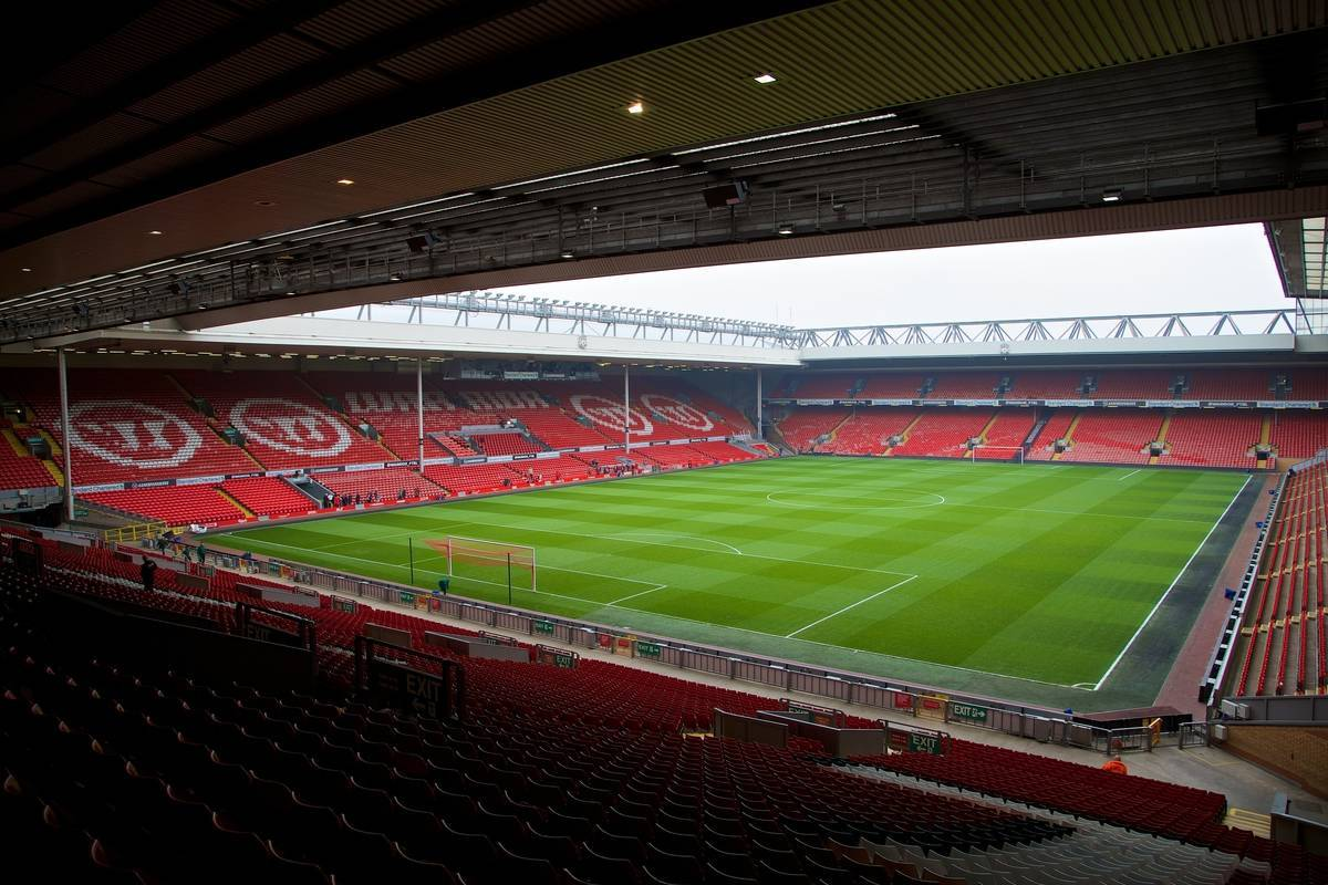 LIVERPOOL, ENGLAND - Sunday, March 30, 2014: A general view of Liverpool's Anfield Stadium, from the Spion Kop showing the Main Stand and Anfield Road stand, before the Premiership match against Tottenham Hotspur at Anfield. (Pic by David Rawcliffe/Propaganda)