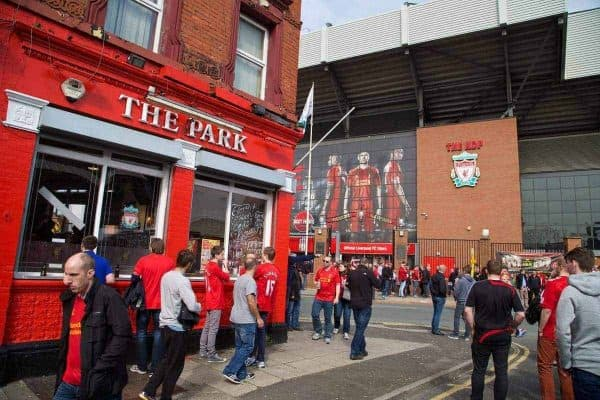 LIVERPOOL, ENGLAND - Sunday, March 30, 2014: Fans outside the Park pub in Anfield before the Premiership match between Liverpool and Fulham. (Pic by David Rawcliffe/Propaganda)