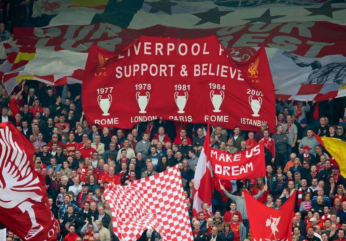 LIVERPOOL, ENGLAND - Sunday, March 30, 2014: Liverpool supporters' banner 'Liverpool FC Support & Believe' during the Premiership match against Tottenham Hotspur at Anfield. (Pic by David Rawcliffe/Propaganda)