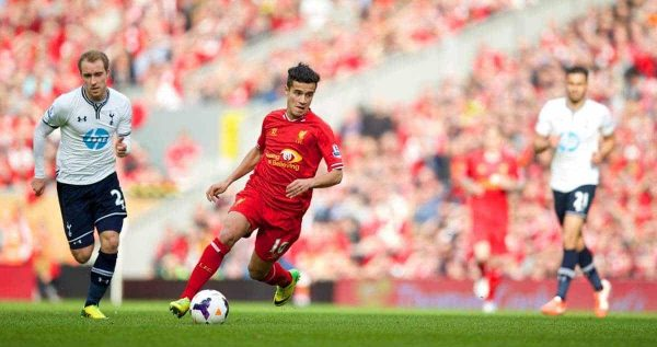 LIVERPOOL, ENGLAND - Sunday, March 30, 2014: Liverpool's Philippe Coutinho Correia in action against Tottenham Hotspur during the Premiership match at Anfield. (Pic by David Rawcliffe/Propaganda)