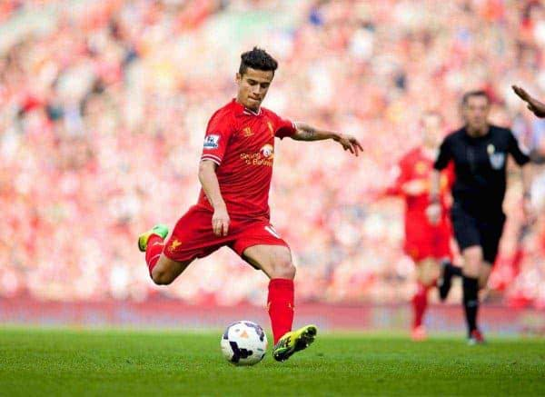 LIVERPOOL, ENGLAND - Sunday, March 30, 2014: Liverpool's Philippe Coutinho Correia scores the third goal against Tottenham Hotspur during the Premiership match at Anfield. (Pic by David Rawcliffe/Propaganda)