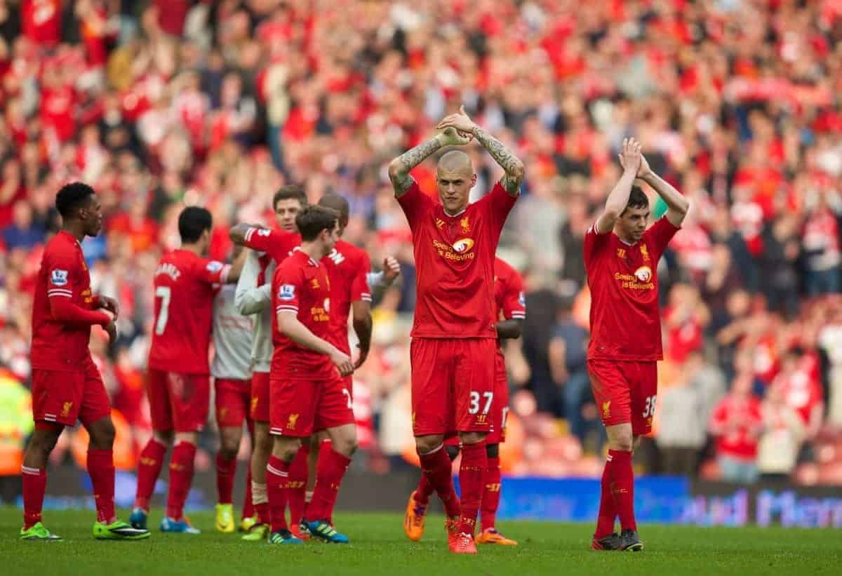 LIVERPOOL, ENGLAND - Sunday, March 30, 2014: Liverpool's Martin Skrtel celebrates his side's 4-0 victory over Tottenham Hotspur during the Premiership match at Anfield. (Pic by David Rawcliffe/Propaganda)