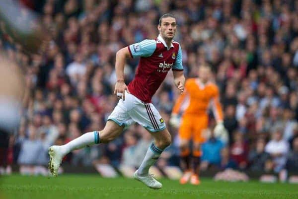 LONDON, ENGLAND - Sunday, April 6, 2014: West Ham United's Andy Carroll in action against Liverpool during the Premiership match at Upton Park. (Pic by David Rawcliffe/Propaganda)