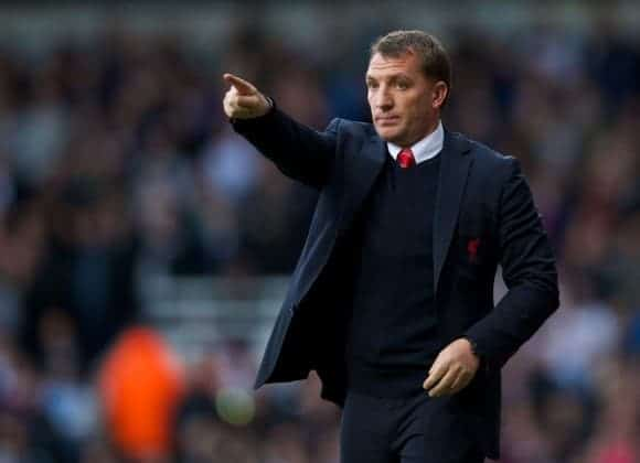 LONDON, ENGLAND - Sunday, April 6, 2014: Liverpool's manager Brendan Rodgers during the Premiership match against West Ham United at Upton Park. (Pic by David Rawcliffe/Propaganda)