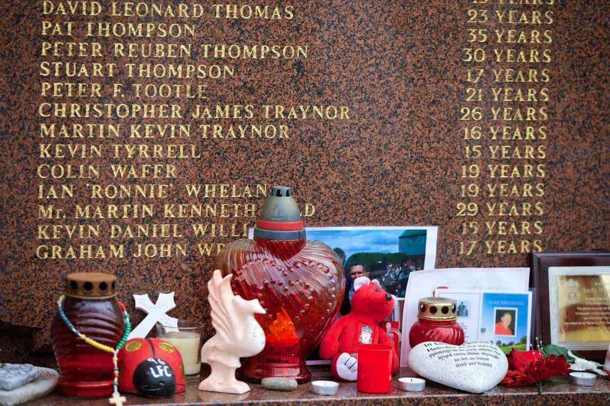 LIVERPOOL, ENGLAND - Sunday, April 13, 2014: Tributes left at the Hillsborough Memorial in the week of the 25th Anniversary of the Disaster pictured before the Premiership match against Manchester City at Anfield. (Pic by David Rawcliffe/Propaganda)