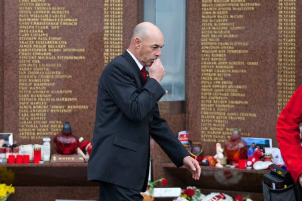 LIVERPOOL, ENGLAND - Sunday, April 13, 2014: Former Liverpool goalkeeper Bruce Grobbelaar pays his respects at the memorial to the 96 victims of the Hillsborough Stadium Disaster outside Anfield before the Premiership match against Manchester City. (Pic by David Rawcliffe/Propaganda)