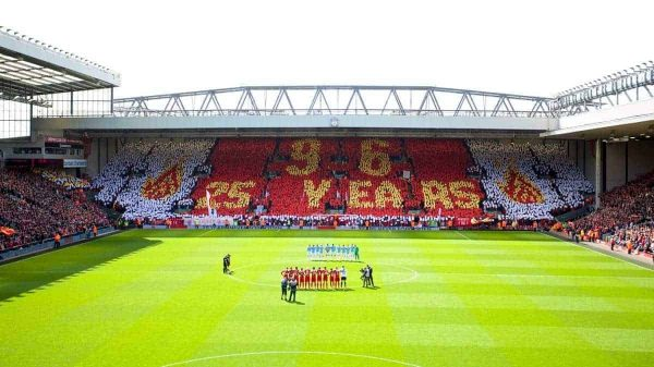 LIVERPOOL, ENGLAND - Sunday, April 13, 2014: The supporters on the Spion Kop make a mosaic toremember the 96 victims of the Hillsborough Stadium Disaster on the 25th Anniversary before the Premiership match against Manchester City at Anfield. (Pic by David Rawcliffe/Propaganda)