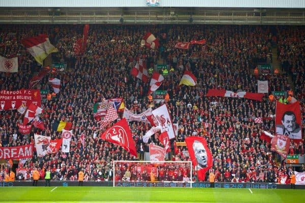 LIVERPOOL, ENGLAND - Sunday, April 13, 2014: Liverpool supporters on the Spion Kop before the Premiership match against Manchester City at Anfield. (Pic by David Rawcliffe/Propaganda)