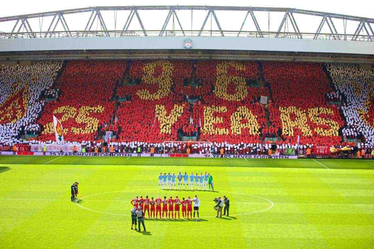LIVERPOOL, ENGLAND - Sunday, April 13, 2014: Liverpool fans on the Spion Kop create a mosaic remembering the 96 victims of the Hillsborough Stadium Disaster before the Premiership match against Manchester City at Anfield. (Pic by David Rawcliffe/Propaganda)