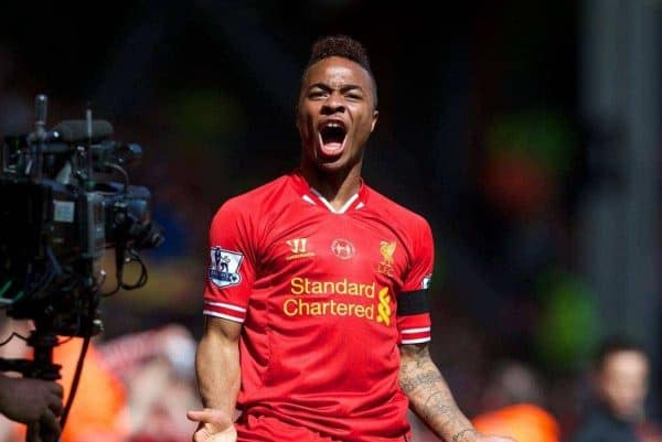 LIVERPOOL, ENGLAND - Sunday, April 13, 2014: Liverpool's Raheem Sterling celebrates scoring the first goal against Manchester City during the Premiership match at Anfield. (Pic by David Rawcliffe/Propaganda)