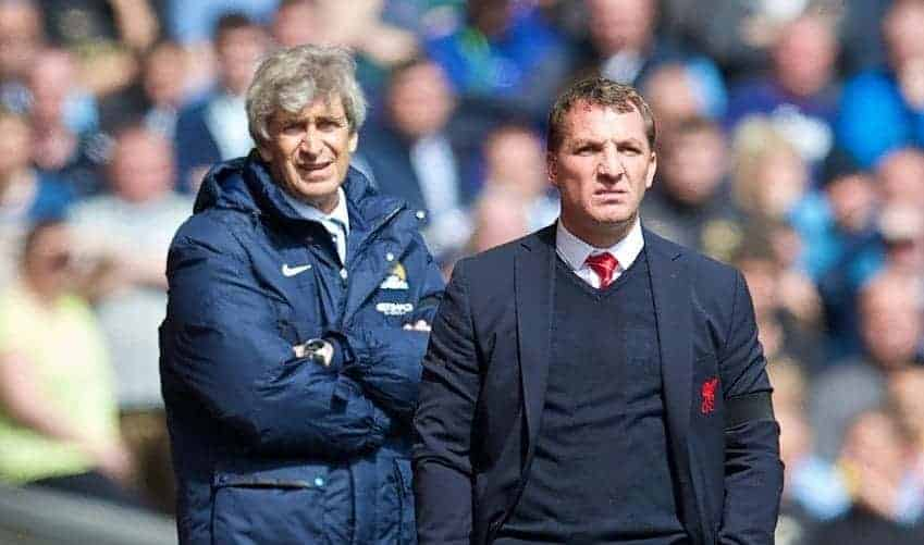 LIVERPOOL, ENGLAND - Sunday, April 13, 2014: Liverpool's manager Brendan Rodgers and Manchester City's manager Manuel Pellegrini during the Premiership match at Anfield. (Pic by David Rawcliffe/Propaganda)