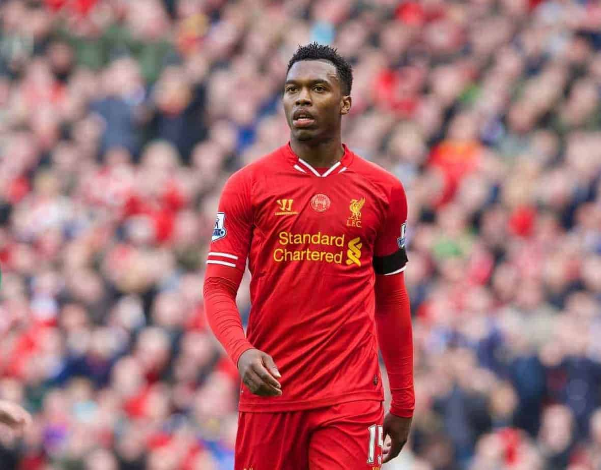 LIVERPOOL, ENGLAND - Sunday, April 13, 2014: Liverpool's Daniel Sturridge in action against Manchester City during the Premiership match at Anfield. (Pic by David Rawcliffe/Propaganda)