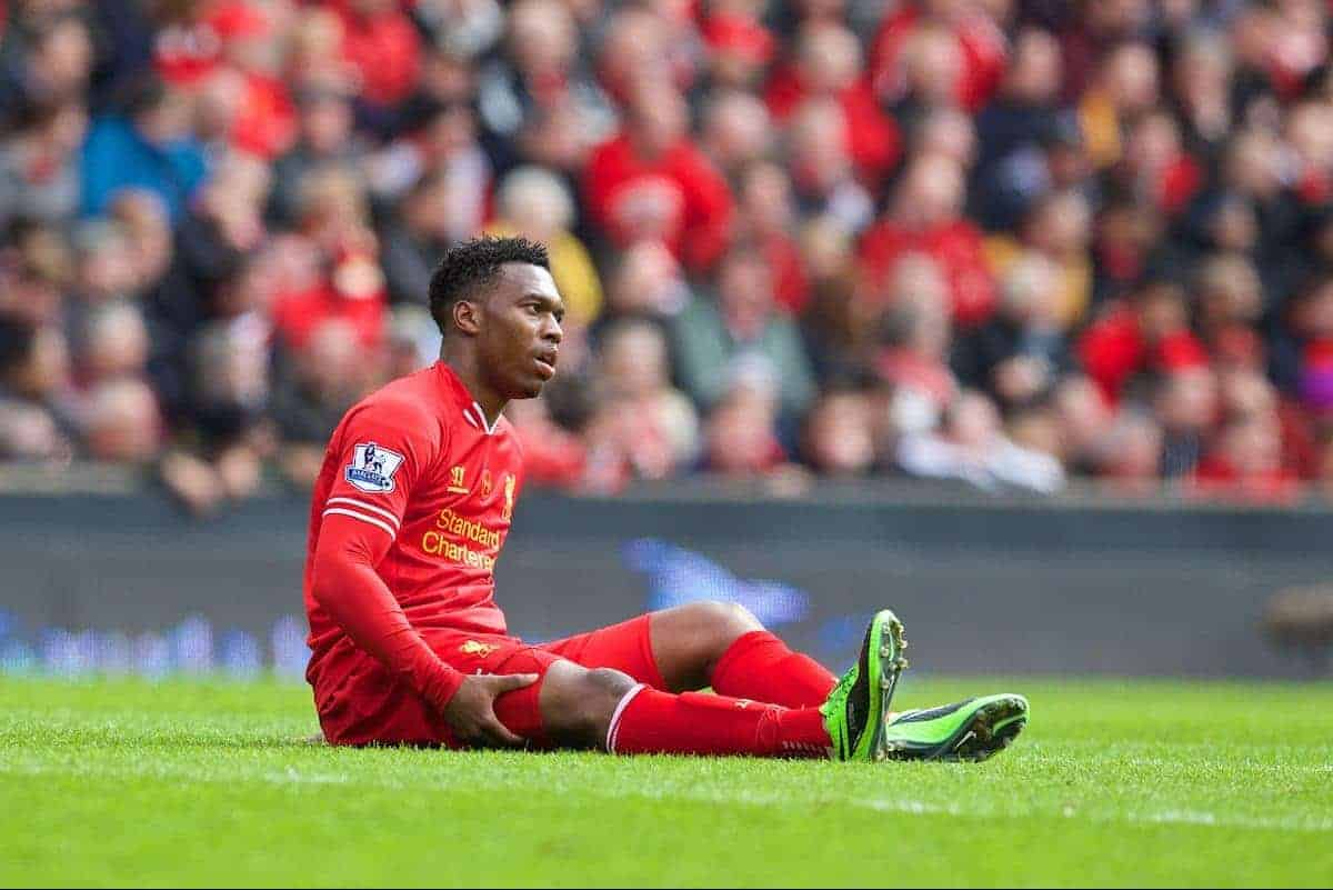 LIVERPOOL, ENGLAND - Sunday, April 13, 2014: Liverpool's Daniel Sturridge lies injured during the Premiership match against Manchester City at Anfield. (Pic by David Rawcliffe/Propaganda)