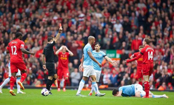 LIVERPOOL, ENGLAND - Sunday, April 13, 2014: Liverpool's Jordan Henderson is shown a red card and sent off against Manchester City during the Premiership match at Anfield. (Pic by David Rawcliffe/Propaganda)