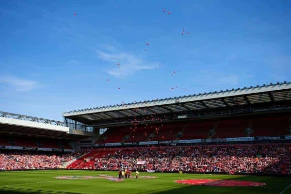 LIVERPOOL, ENGLAND - Tuesday, April 15, 2014: 96 red balloons are released during the 25th Anniversary Hillsborough Service at Anfield. (Pic by David Rawcliffe/Propaganda)