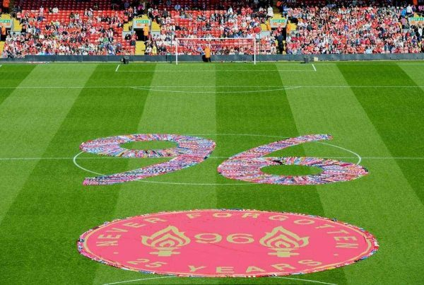 LIVERPOOL, ENGLAND - Tuesday, April 15, 2014: A 96 written in scarves before the 25th Anniversary Hillsborough Service at Anfield. (Pic by David Rawcliffe/Propaganda)