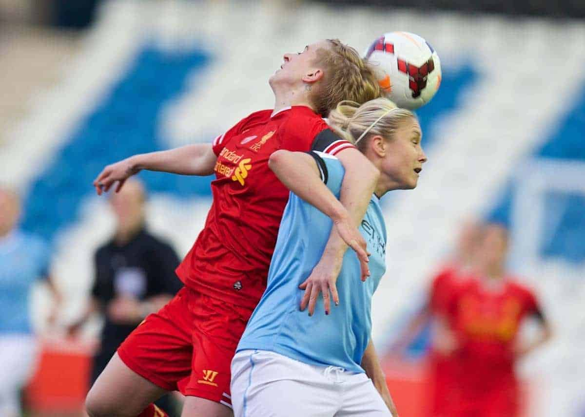 WIDNES, ENGLAND - Thursday, April 17, 2014: Liverpool Ladies' Natasha Dowie in action against Manchester City Ladies captain Steph Houghton during the FA Women's Super League match at the Halton Stadium. (Pic by David Rawcliffe/Propaganda)
