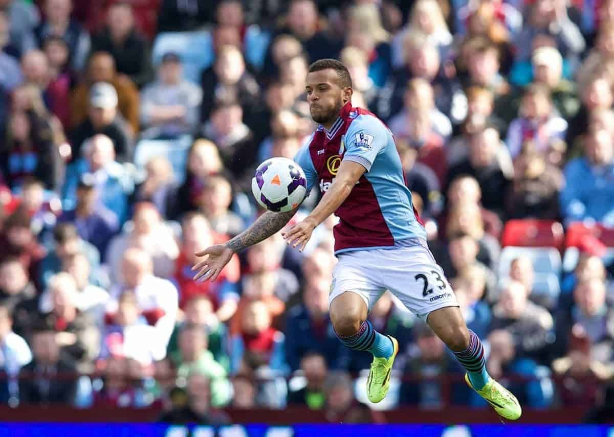BIRMINGHAM, ENGLAND - Saturday, April 19, 2014: Aston Villa's Ryan Bertrand in action against Southampton during the Premiership match at Villa Park. (Pic by David Rawcliffe/Propaganda)