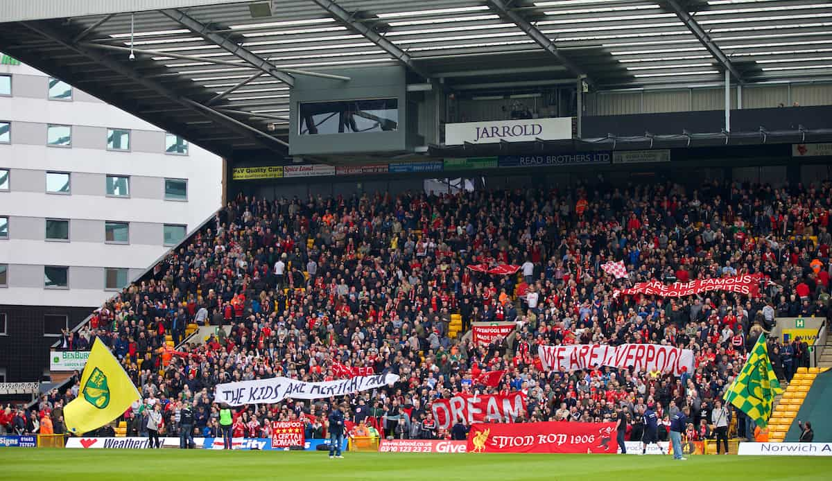 NORWICH, ENGLAND - Sunday, April 20, 2014: Liverpool supporters before the Premiership match against Norwich City at Carrow Road. (Pic by David Rawcliffe/Propaganda)