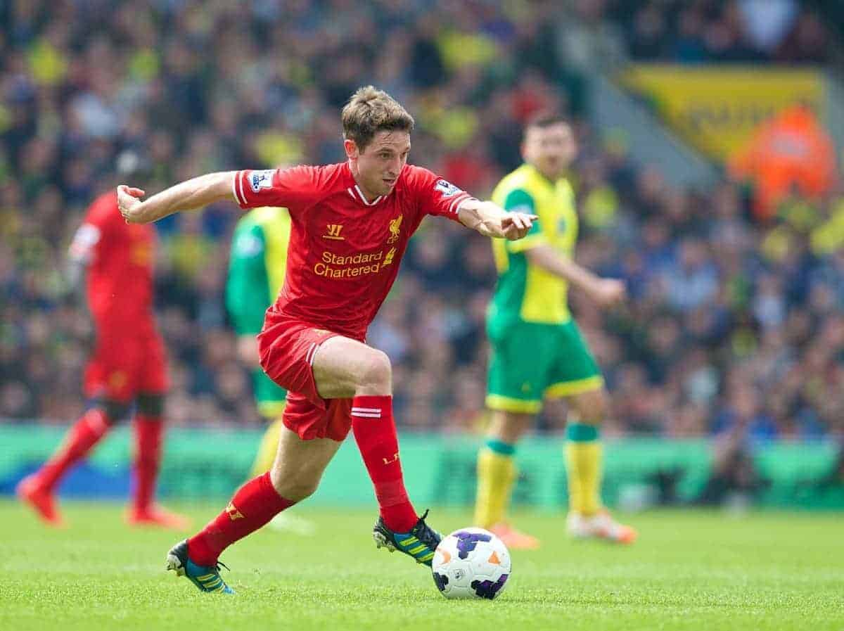 NORWICH, ENGLAND - Sunday, April 20, 2014: Liverpool's Joe Allen in action against Norwich City during the Premiership match at Carrow Road. (Pic by David Rawcliffe/Propaganda)