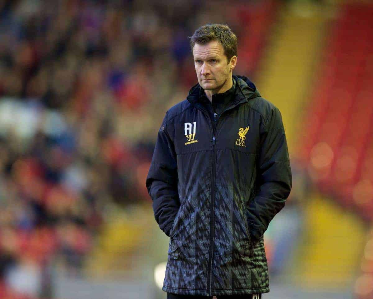 ANFIELD, ENGLAND - Friday, May 2, 2014: Liverpool's reserve team head coach Alex Inglethorpe looks dejected as he see his side lose 1-0 to Manchester United during the Under 21 FA Premier League Semi-Final match at Anfield. (Pic by David Rawcliffe/Propaganda)