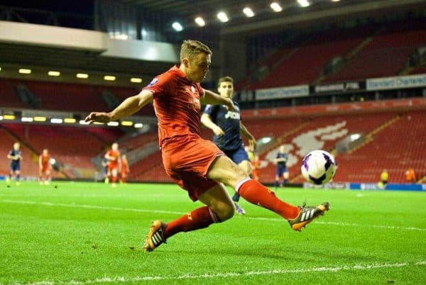 ANFIELD, ENGLAND - Friday, May 2, 2014: Liverpool's Connor Randall in action against Manchester United during the Under 21 FA Premier League Semi-Final match at Anfield. (Pic by David Rawcliffe/Propaganda)