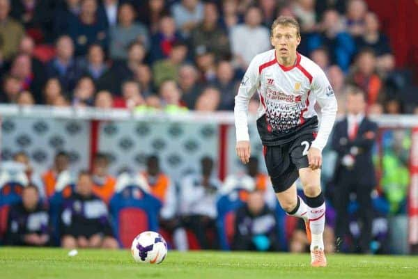 LONDON, ENGLAND - Monday, May 5, 2014: Liverpool's Lucas Leiva in action against Crystal Palace during the Premiership match at Selhurst Park. (Pic by David Rawcliffe/Propaganda)