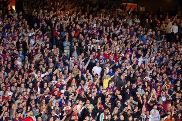 LONDON, ENGLAND - Monday, May 5, 2014: Crystal Palace supporters during the Premiership match against Liverpool at Selhurst Park. (Pic by David Rawcliffe/Propaganda)