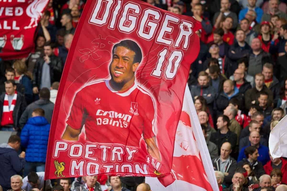 LIVERPOOL, ENGLAND - Sunday, May 11, 2014: Liverpool supporters' banner 'Digger 10' of John Barnes on the Spion Kop before the Premiership match against Newcastle United at Anfield. (Pic by David Rawcliffe/Propaganda)