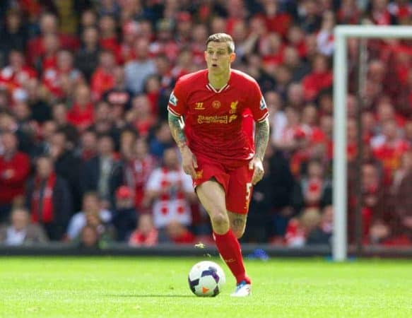 LIVERPOOL, ENGLAND - Sunday, May 11, 2014: Liverpool's Daniel Agger in action against Newcastle United during the Premiership match at Anfield. (Pic by David Rawcliffe/Propaganda)