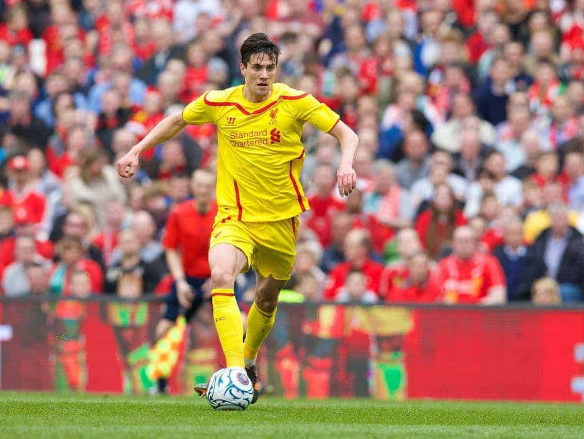 DUBLIN, REPUBLIC OF IRELAND - Wednesday, May 14, 2014: Liverpool's Martin Kelly in action against Shamrock Rovers during a postseason friendly match at Lansdowne Road. (Pic by David Rawcliffe/Propaganda)