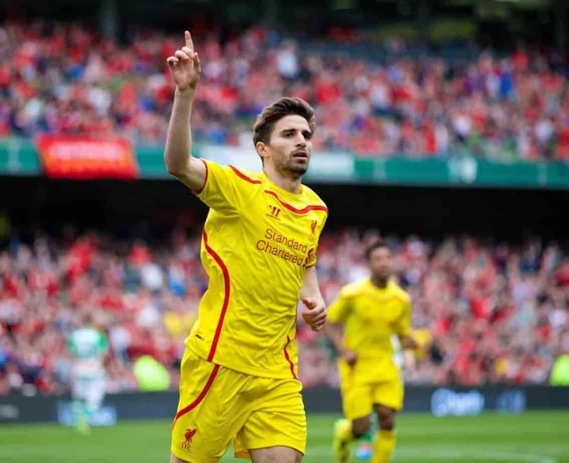 DUBLIN, REPUBLIC OF IRELAND - Wednesday, May 14, 2014: Liverpool's Fabio Borini celebrates scoring the second goal against Shamrock Rovers during a postseason friendly match at Lansdowne Road. (Pic by David Rawcliffe/Propaganda)