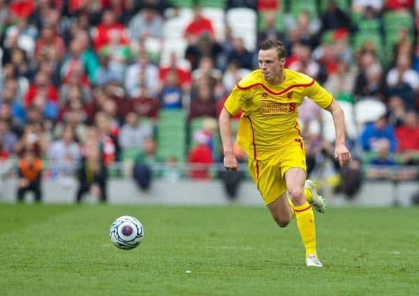 DUBLIN, REPUBLIC OF IRELAND - Wednesday, May 14, 2014: Liverpool's Brad Smith in action against Shamrock Rovers during a postseason friendly match at Lansdowne Road. (Pic by David Rawcliffe/Propaganda)