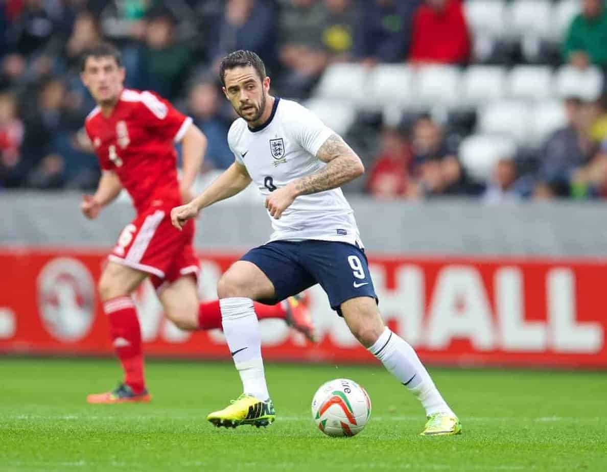 SWANSEA, WALES - Monday, May 19, 2014: England's Danny Ings in action against Wales during the 2015 UEFA European Under-21 Championship Qualifying Group 1 match at the Liberty Stadium. (Pic by David Rawcliffe/Propaganda)
