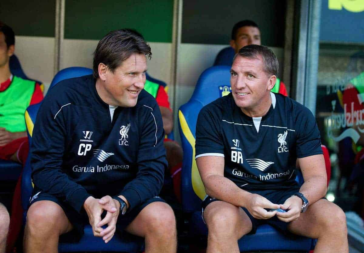 COPENHAGEN, DENMARK - Wednesday, July 16, 2014: Liverpool's manager Brendan Rodgers and assistant manager Colin Pascoe before a preseason friendly match against Brøndby IF at Brøndby Stadion. (Pic by David Rawcliffe/Propaganda)