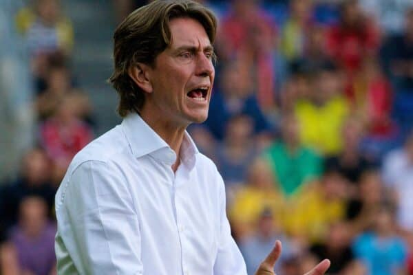 COPENHAGEN, DENMARK - Wednesday, July 16, 2014: Brondby IF's head coach Thomas Frank - now Brentford manager - during a preseason friendly match against Liverpool at Brøndby Stadion. (Pic by David Rawcliffe/Propaganda)