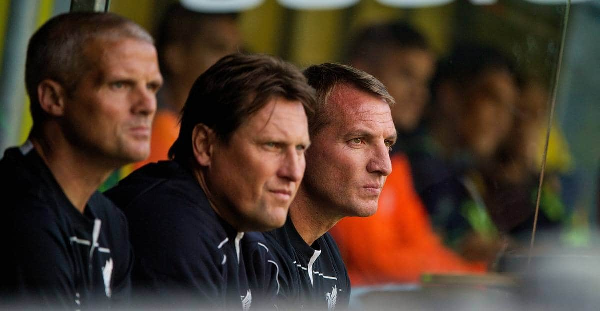 COPENHAGEN, DENMARK - Wednesday, July 16, 2014: Liverpool's manager Brendan Rodgers and assistant manager Colin Pascoe during a preseason friendly match against Brøndby at Brøndby Stadion. (Pic by David Rawcliffe/Propaganda)