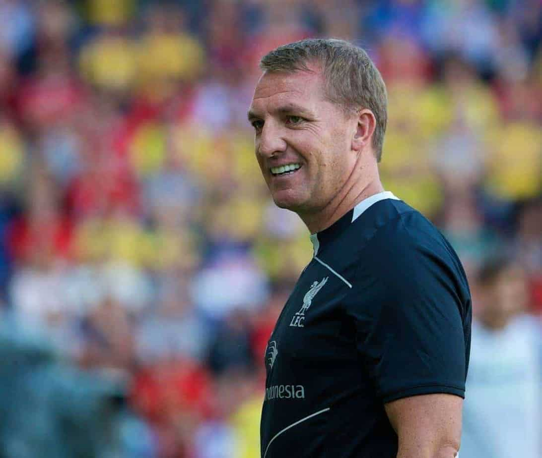 COPENHAGEN, DENMARK - Wednesday, July 16, 2014: Liverpool's manager Brendan Rodgers during a preseason friendly match against Brøndby at Brøndby Stadion. (Pic by David Rawcliffe/Propaganda)